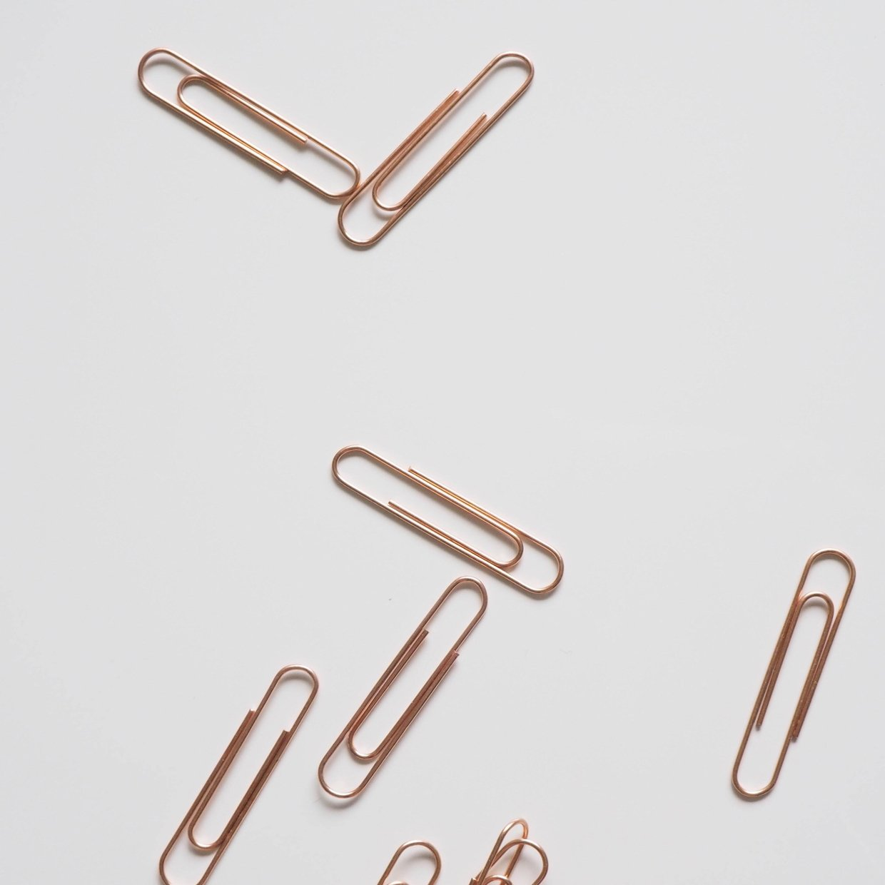 An image of paperclips, depicting a work setting