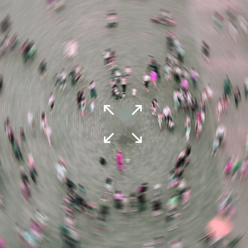 A distorted picture of people walking in a circular direction. The image is blurred to give a sense of confusion and unease, similar to how cancer survivors may feel during the easing of lockdown and Covid-19. Arrows appear on the image pointing in all directions.